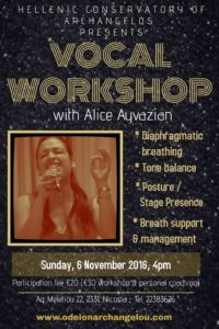 Vocal Workshop with Alice Ayvazian